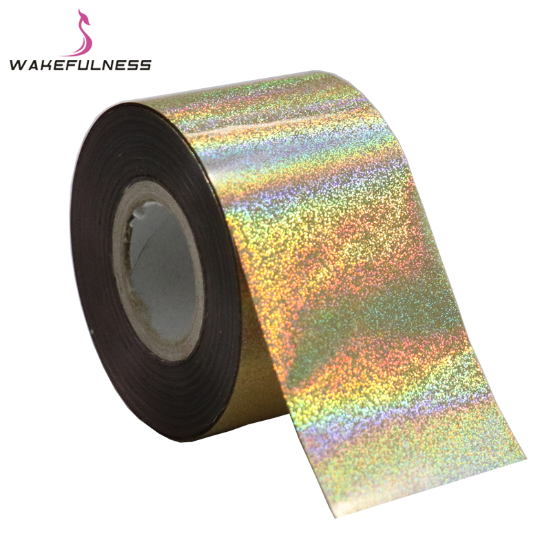 120M*4CM Laser Fine Sand Nail Foils Rainbow Decals Holo Nail Art Transfer Foil Stickers for Nail Charms Manicure Decorations 120m 4cm 1 roll holo nail transfer foils laser red fine sand nails art transfer stickers manicure nail art decorations tips