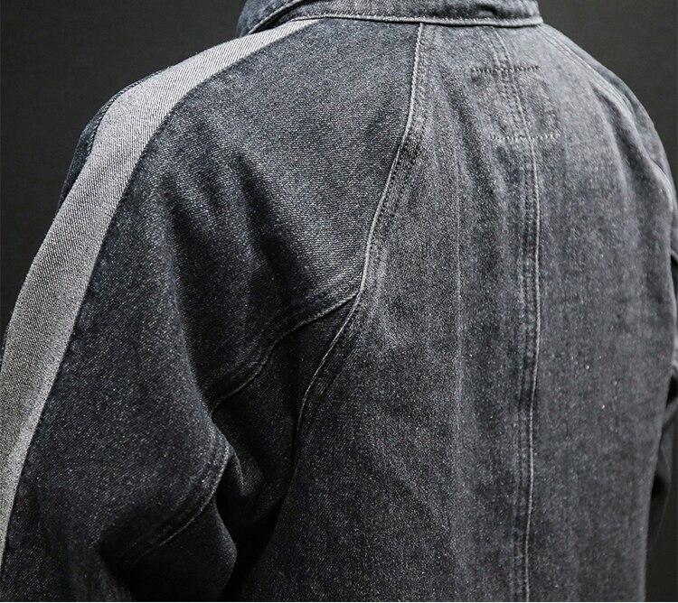 Palangre poche Patchwork Vintage corvée manteau hommes Demin veste en détresse Jean hauts - 6