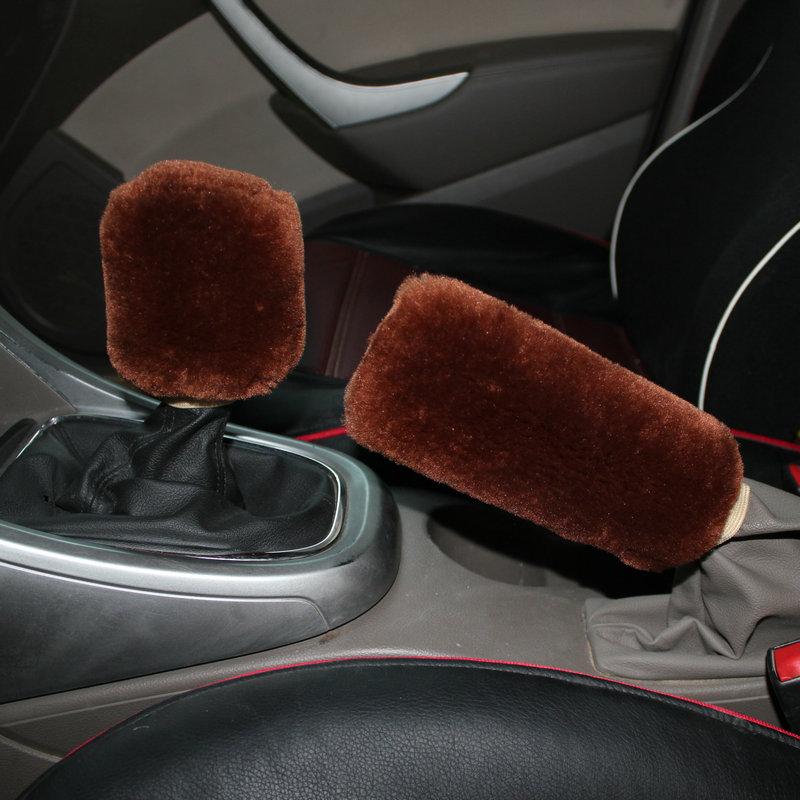 HotMeiNi Winter Plush Gear Set Hand Brake Set Gear Lever Sleeve Gear Shift Block Manual Gear Interior Auto Supplies
