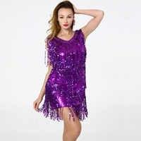 BLINGSTORY Latina competencia De baile vestido De traje De lentejuelas borla adulto flecos Vestidos FLAPPER Vestidos De Salsa