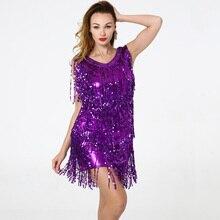 Blingstory dança latina competição vestido traje lantejoulas borla adulto franja flapper vestidos de salsa