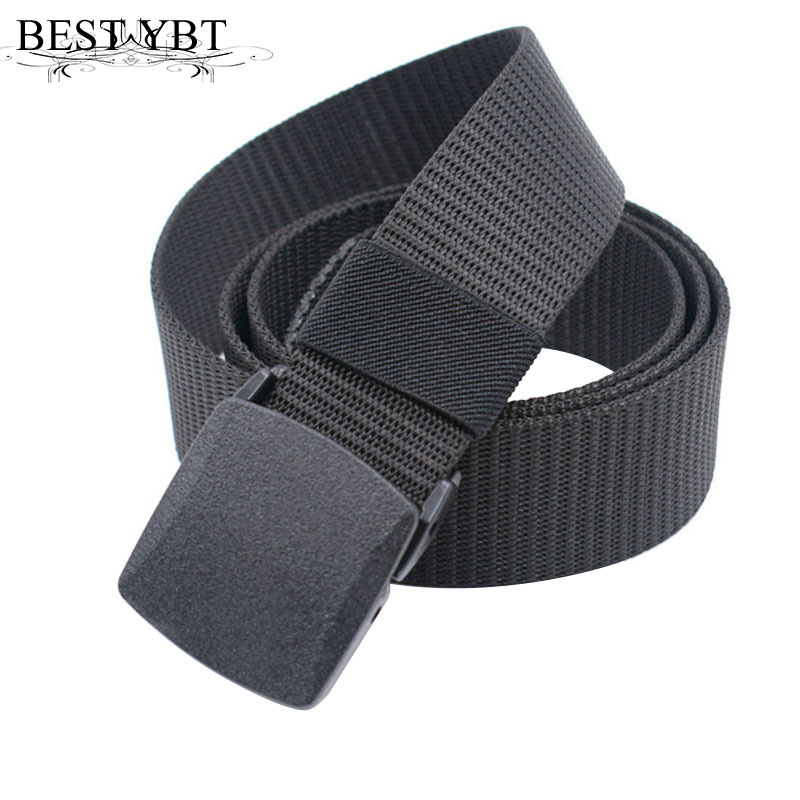 Best YBT Unisex Belt Nylon Plastic Smooth Buckle Women Belt Army Fan Outdoor Trainin Simple Fashion Casual High Quality Men Belt
