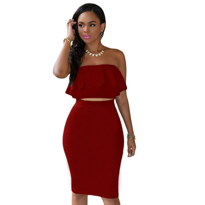 ADEWEL 2018 Women Off Shoulder Ruffles Two Piece Dress Sexy Bodycon Club Crop Top & Midi Dress Sets Party Dress Suit Vestidos (10)