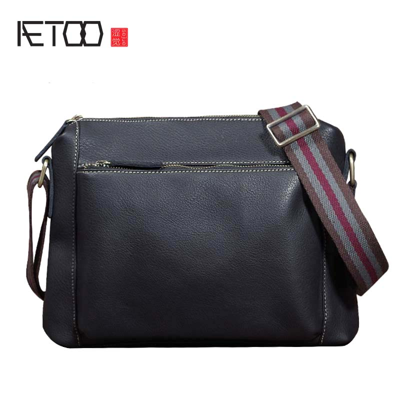 AETOO Original art leather first layer leather shoulder bag cross section iPad soft leather casual portable wild trend men's bag aetoo new first layer of leather men s shoulder bag leather male package cross section oblique cross bag japanese and korean ver
