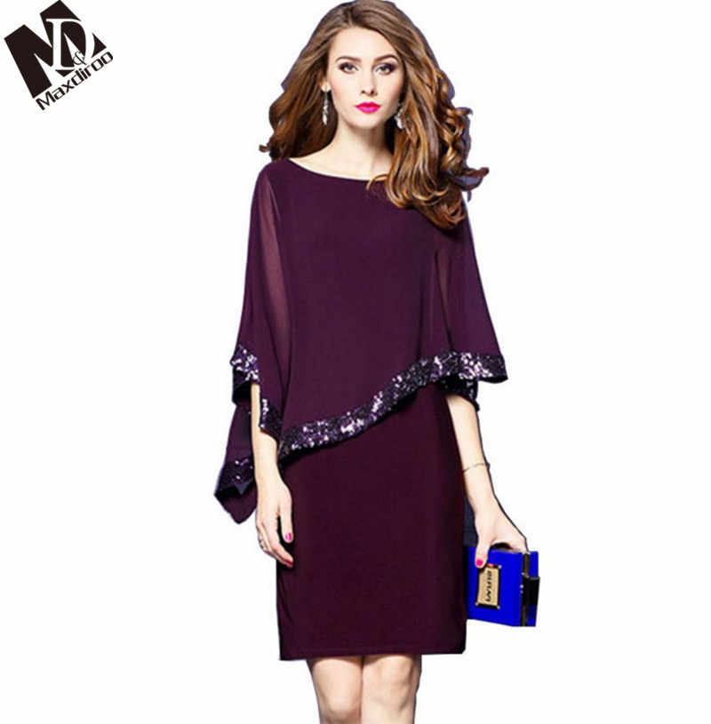 ae773dff Maxdiroo Women Summer Dress Chiffon Sequin Cape Dress O-neck Knee-length  Office Party