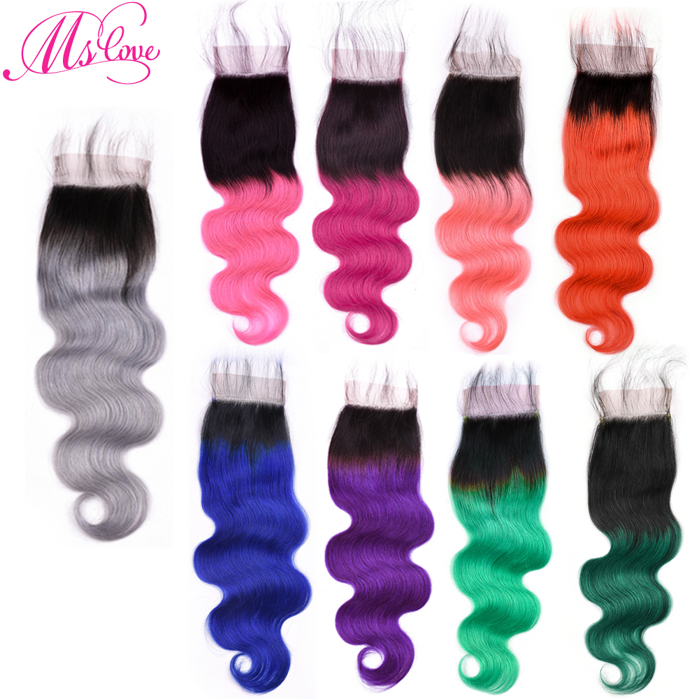 Ms Love Ombre Grey Blue Red Pink Purple Orange Green Burgundy Body Wave Lace Closure 4x4 Human Hair Closure Remy Peruvian Hair