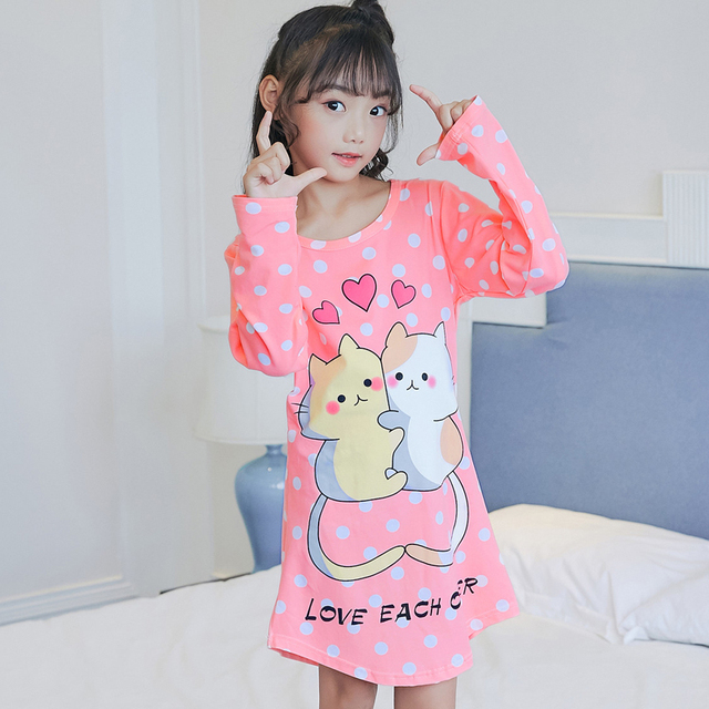 a57c5a1f73a5 2018 Autumn Dresses Spring Girls Baby Pajamas Cotton Princess Nightgown  Kids Children Home Cltohing Girl Sleepwear Kid Nightgown