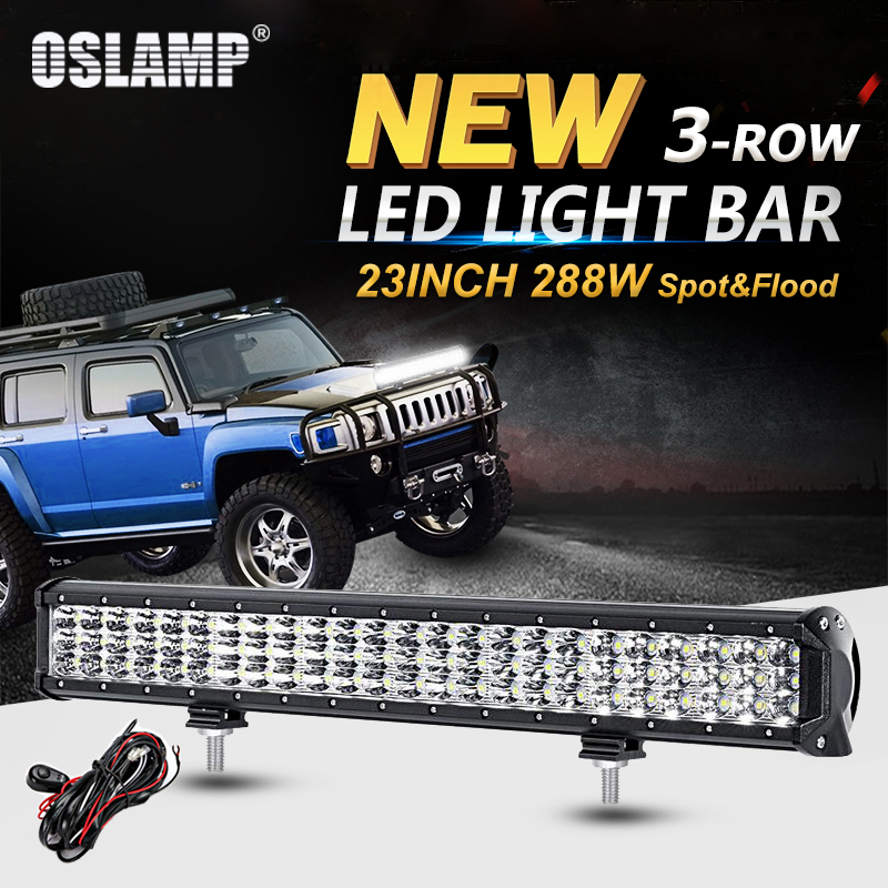 Oslamp 288W 3-Row 23inch LED Light Bar Offroad Combo Beam Led Work Light Bar for Truck SUV ATV 4WD 4x4 23