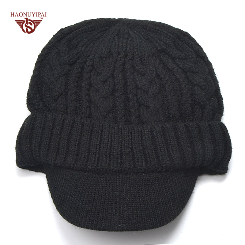 3bdadee650d Cool Mens Beanies Hats Black Knitted Winter Warm Soft cap Casual Style  Solid Color Skullies Bonnet Hat Crochet hat with Visor-in Skullies   Beanies  from ...