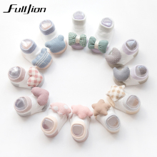 Fulljion Baby Socks For Girls Happy Infant Sock Shoes Newborn Boys Anti Slip Cotton White Kids Children Gifts Cute Funny School