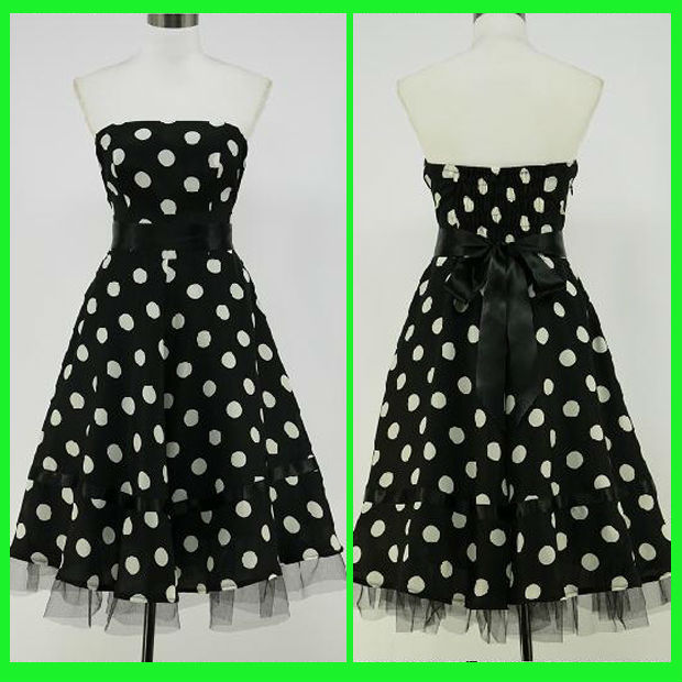 Bk01 Chiffon Strapless White Black Polka Dot 50s Rockabilly Swing