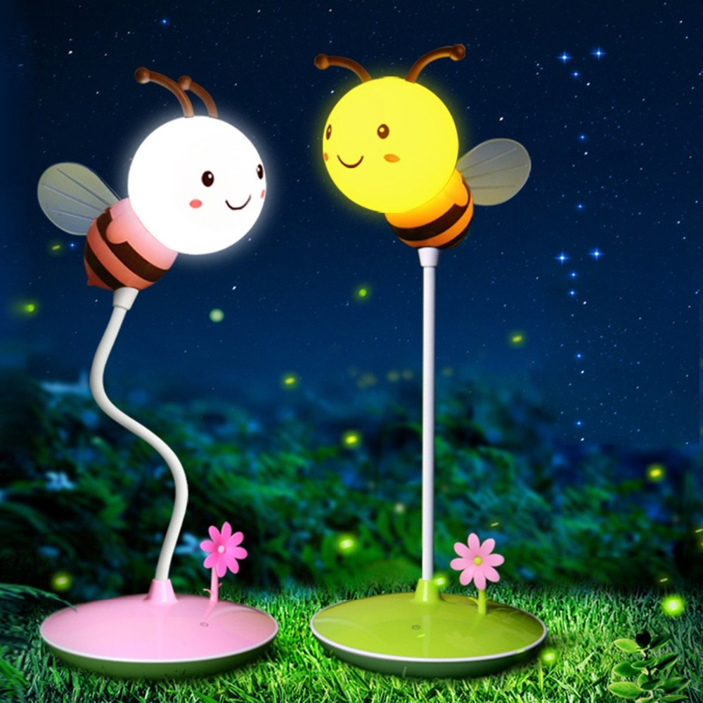 USB Charging Night Light Creative New Cartoon LED Night Light 3 Speed Adjust Cute Bee For Table Lamp Timing Turn Off Lamp