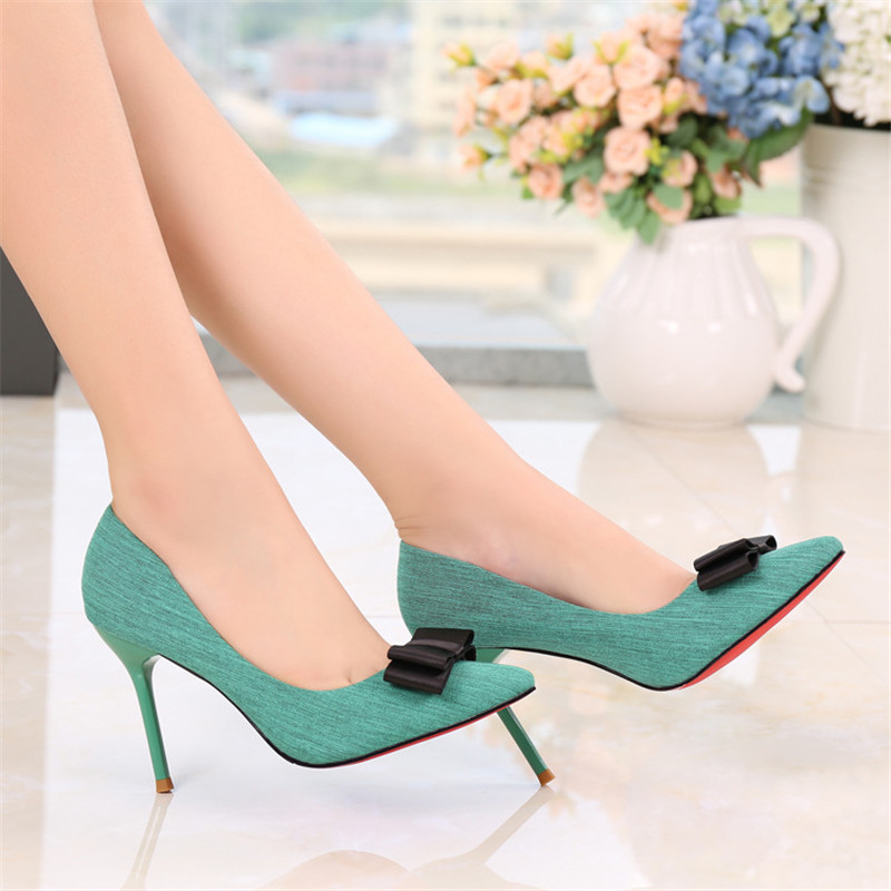 Women spring autumn elegant butterfly-knot green shallow pointed toe thin high heels china shoes woman pumps 38 new flock high big size 11 12 women shoes wedges pointed toe woman ladies butterfly knot casual spring autumn sweet single shoes