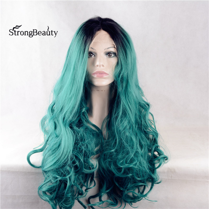 Strongbeauty Long Curly Green Wig Synthetic Ombre Black to Green Lace Front Two Tone Wig for Black Women