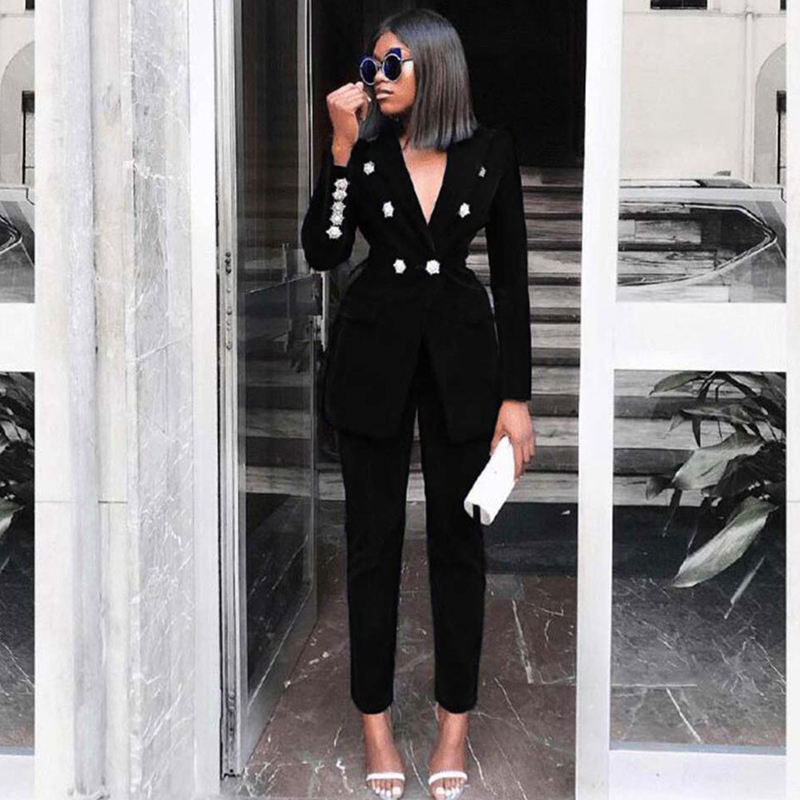 Ocstrade Summer Sets For Women 2020 New Black V Neck Long Sleeve Sexy 2 Piece Set Outfits High Quality Two Piece Set Suit