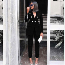 Summer-Sets Outfits Two-Piece-Set Suit Long-Sleeve Women Ocstrade for Black V-Neck Sexy
