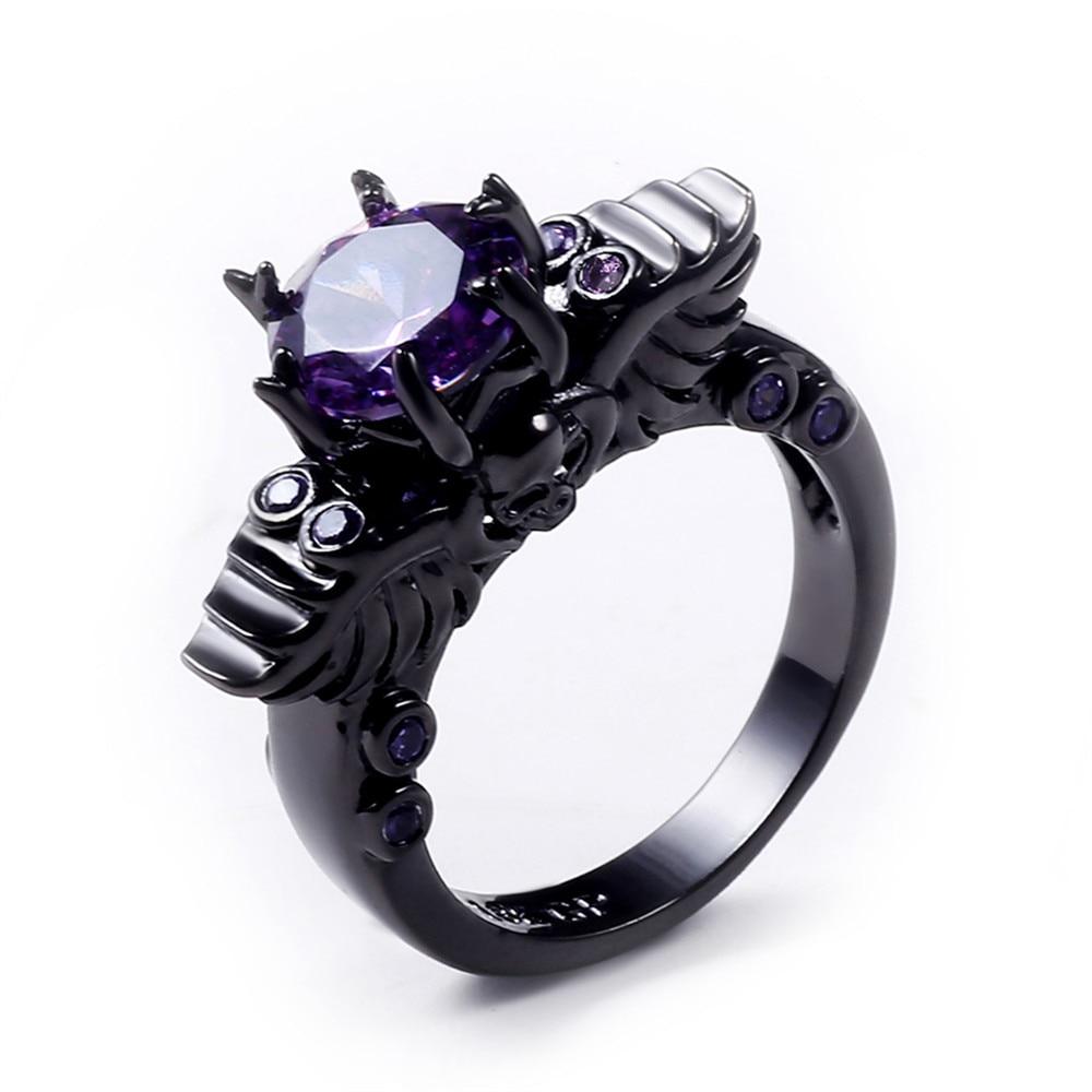 Charming Stone Ring Purple Zircon Fashion Women Wedding Flower Jewelry Black  Gold Filled Engagement Rings Bague