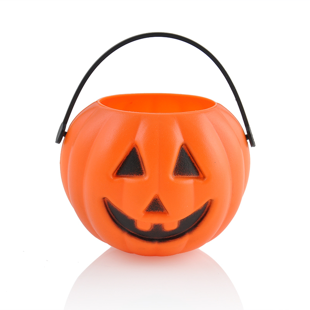 2016 Halloween Party Props Plastic Pumpkin Bucket Trick Treat Cosplay Plastic Decoration Pouch Holder~GS600