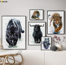 Black Panther Lion Tiger Bison Watercolor Wall Art Canvas Painting Nordic Posters And Prints Pictures For Living Room Decor