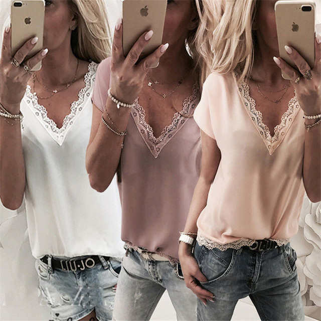 Plus Size Women Blouse and Tops Summer Top Casual Loose Sleeveless Solid Lace V-neck Chiffon Blouses Female Shirts Vest Blusa