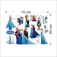 лучшая цена DISNEY Cartoon Olaf Sven Kristoff Hans Anna Elsa Princess Frozen Theme Wall Stickers Kids Home Decoration
