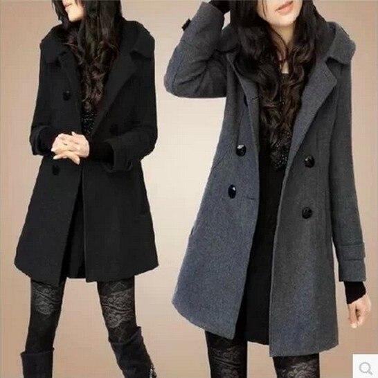 Automne Manteau breasted Mode dark D'hiver Capuche De Black Et Ayunsue Coréenne Version Sobretudo Grey Double 2018 Veste Laine Kj272 Femme À Noir tg68qSwZ