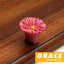 Цветок начало пастырской стиль мультфильм смола ручка детская комната обувной шкаф мебель ящик дизайн ( L : 42 мм )