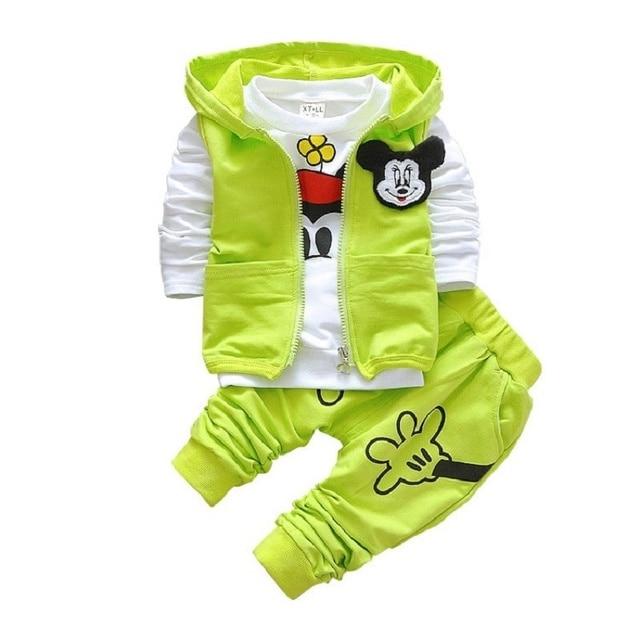 Горячие продаж Возраст сезон девочка/мальчик моды костюмы Микки капюшоном куртка + Футболка + брюки дети подходит 3 ШТ. детская одежда