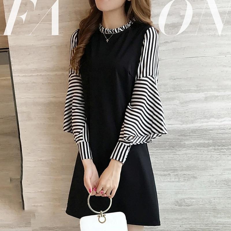 1pc New Stylish And Trendy Dress Women Autumn Mini Dress A-Line Striped Long Sleeve Dresses Casual  Elegant Female Dress