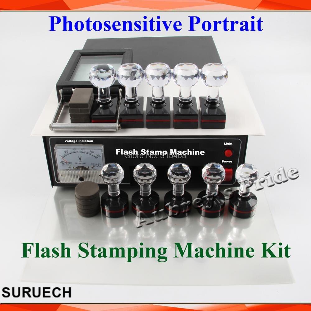 2 Exposure Lamps Photosensitive Flash Stamping Machine Kit Selfinking Make Seal 10 Stamps Circle Rectangle Film
