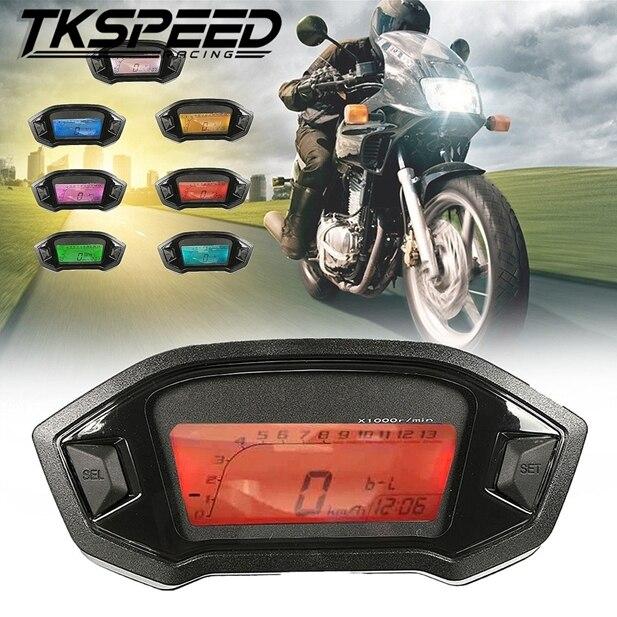 Universal de La Motocicleta LCD Motocicleta Velocímetro Digital Odómetro Contraluz para 1,2, 4 Cilindros