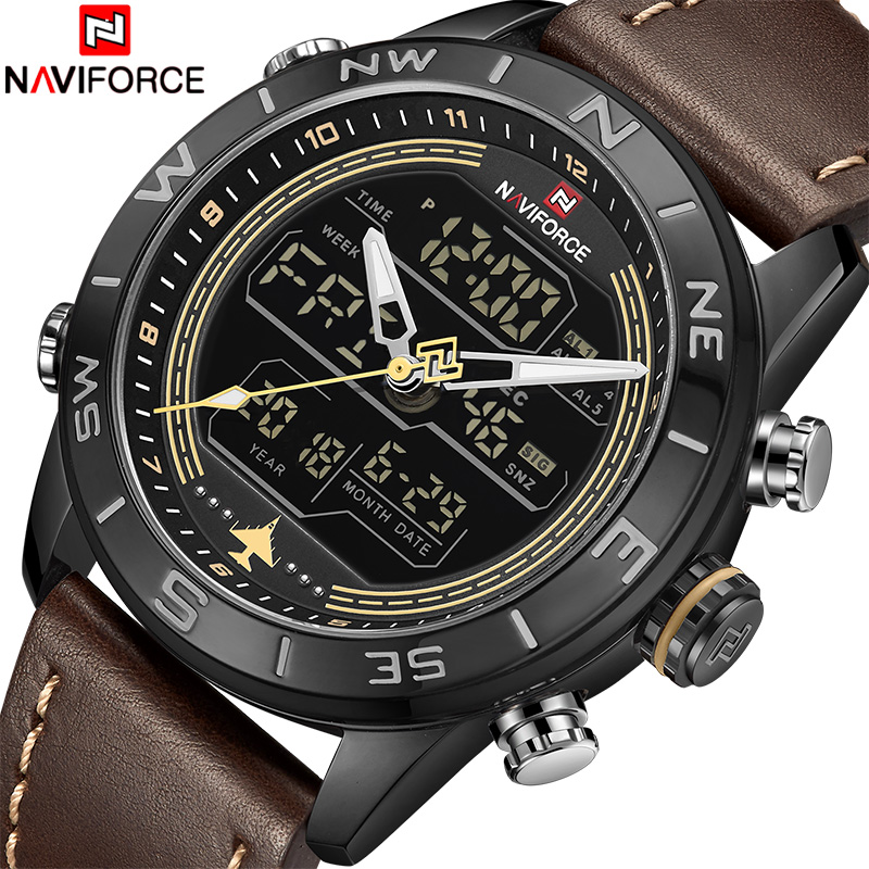 Man Clock NAVIFORCE Top Luxury Brand Sport Watches Men Leather Waterproof Army Military Digital Quartz Analog Wrist Watch ochstin square luxury brand military watch men analog quartz wrist watch leather clock man new sport men watch army reloj hombre