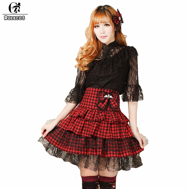 8ec763e3ac0 ROLECOS Womens Skirt Lace Princess Style Tulle Sweet Lolita Skirt High Waist  Punk Red Plaid Girl Plus size Ball Gown Skirts
