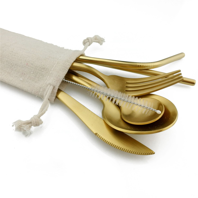 16Pcs Pure Gold Europe Dinnerware Set Metal Straws Brush Bag 304Stainless Steel Cutlery Serving Fork Teaspoon