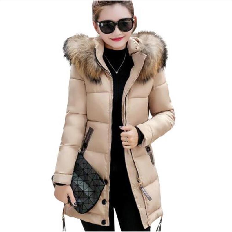 2019 fur collar plus size 4XL women winter hooded coat female outerwear   parka   ladies warm long jacket slim jaqueta feminina