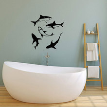 Vinyl wall applique shark bathroom decoration concept interior mural, sticker fashion YS04