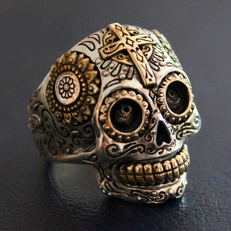 Anneaux en argent Sterling Biker crâne de sucre pour hommes 19g solide fabriqué à la main en argent 925 Chunky hommes anneau gothique large bande mâle bijoux