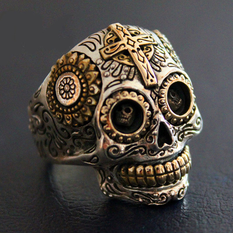 Sterling Silver Biker Sugar Skull Rings For Men 19g Solid Handcrafted Silver 925 Chunky Mens Ring Gothic Wide Band Male Jewelry-in Rings from Jewelry & Accessories    1