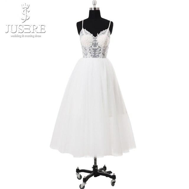 Spaghetti Strap Beach Short Wedding Dresses 2018 Vestido Noiva Praia Simple White Tulle Casamento Sashes Bridal Gown Custom Made