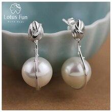 Lotus Fun реальные стерлингового серебра 925 природных ручной Красивые ювелирные изделия цветок лотоса Mother Of Pearl Длинные Висячие серьги для Для женщин brincos