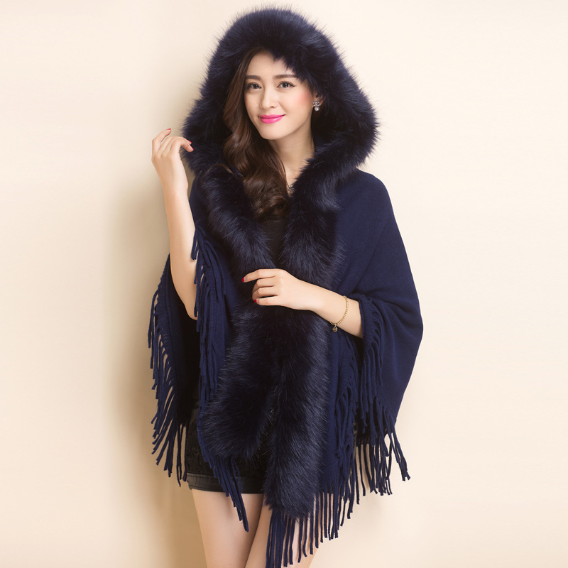 2017 Autumn Winter New Loose Tick With Fur Tassel Knitted Cashmere Women Long Thick Poncho Capes Duplex Shawl Cardigan Knitwear