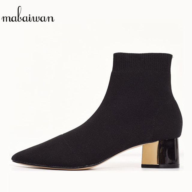 2329a8879a42 Mabaiwan 2019 Fashion Square Heel Stretch Fabric Women Sock Ankle Boots  Black Slip On High Heel Shoes Women Botines Mujer Pumps