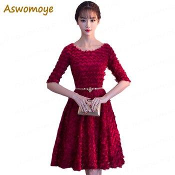 Women Prom Dress Short 2018 Half Sleeve Elegant Banquet Evening Dresses Sashes Party Formal Dress robe de soiree