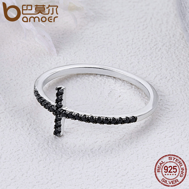BAMOER Popular 925 Sterling Silver Faith Cross Shape Finger Rings for Women ,Black Clear CZ Sterling Silver Jewelry Gift SCR067 3
