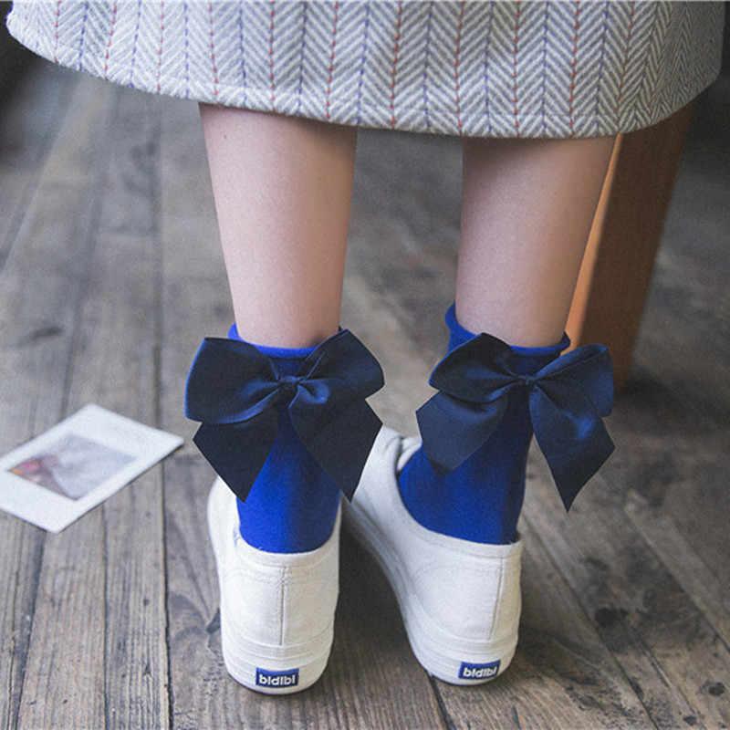 Vrouwen Mooie Candy Kleur Boog Sokken Casual Vrouwelijke Contrast Kleur Korte Leuke Sokken Dames Boog Sokken