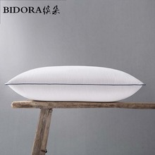 BIDORA hot down pillow 95% white duck down core high quality OEM Five-star hotel pillow 48*74cm Cotton can be customized size