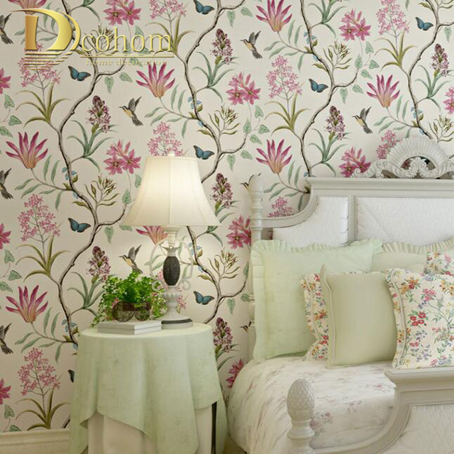American Rustic Floral Bird Wall Paper Rolls For Walls ...