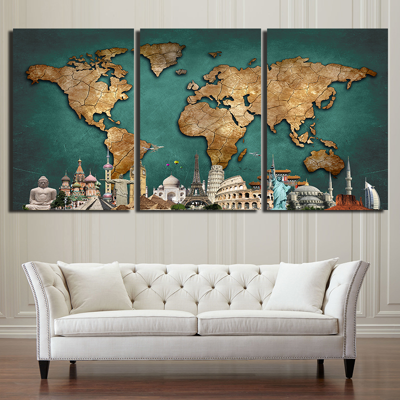 World map canvas painting for living room 3 pieces related gumiabroncs Image collections