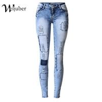 2017 Weljuber Pachwork Denim Ripped Blue Hole Jeans Pencil Pants Women Cool Zipper Jeggings High Elastic Wash Low Waist Jeans