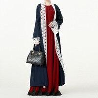 Elegant Lace Muslim Linen Abaya Arab Turkish Singapore Jilbab Dubai Long Maxi Dress Muslims Women Dresses